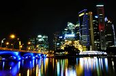 Modern Singapore Skyline by Night