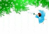 picture of angel-trumpet  - Vector illustration of Christmas tree and an angel - JPG