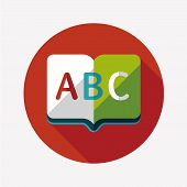 Dictionary Book Flat Icon With Long Shadow,eps10