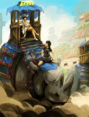 digital painting taxi rhinoceros