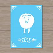 Vector card with sheep and 2015
