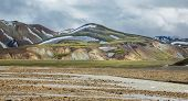 Landmannalaugar unbelievable colorful landscape and river, Iceland