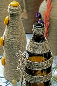 Bottles Braided With Flax Rope
