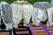 Traditional Romanian Costumes And Materials Embroidered