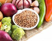 Raw Buckwheat And Vegetables