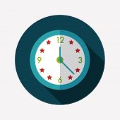 Clock Flat Icon With Long Shadow