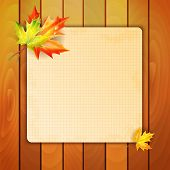 Sheet In A Cage With A Place For Your Text Decorated With Autumn Maple Leaves