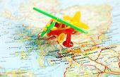 Glasgow Scotland; Great Britain Map Airplane