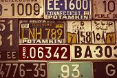 Sepia Toned License Plates