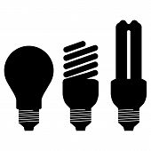 Black silhouette of energy saving bulb isolated on white background