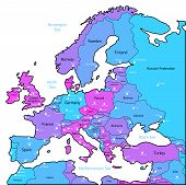 Cyan And Violet Map Of Europe