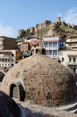 Famous Tbilisi Landmarks - Medieval Sulphur Bathes In Abanotubani,meidan Square,and Narikala Fortres