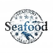 Seafood grunge rubber stamp