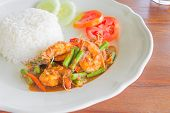 prawns and cow-pea fried with chilies