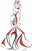 Silhouette of beautiful woman in a long red dress - vector illustration