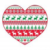 Chirstmas car - red and green nordic pattern on white
