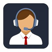 Call Center Operator or Manager with Headset Flat Style Icon. Vector