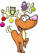 Funny Reindeer With Christmas Balls And Birds Sitting On Antlers Isolated On White Background
