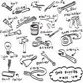Vector Hand Drawn Set Of Tools Supplies, Doodles