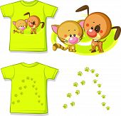Kid Shirt With Cute Cat And Dog Printed - Isolated On White, Back And Front View