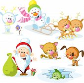 Santa Claus With Snowman, Cute Christmas Animals - Reindeer, Cat, Dog, Bird And Fish