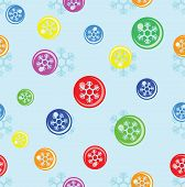 seamless background of snowflake on colorful ball