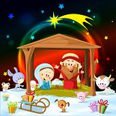 foto of baby pig  - christmas nativity with lights and cute animals - JPG