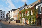 View Down Cathedral Close In Exeter, Devon, Uk