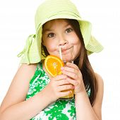 Cute Girl Is Drinking Orange Juice