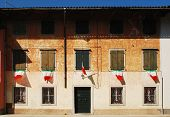 Italian Flags On Rural Building