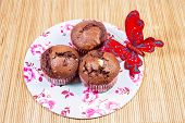 Muffins With Red Butterfly