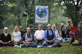 Zen Buddhists meditate in Central Park