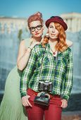 Two Beautiful Hipster Girls