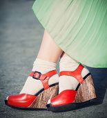 Legs Of Woman With High Heels Vintage Style