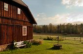 image of chalet  - Old chalet with meadow in autumn morning - JPG