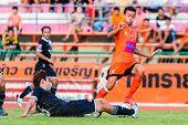 Sisaket Thailand-september 21: Santirat Viang-in Of Sisaket Fc. In Action During Friendly Match Betw