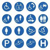 Blue Circle Handicap Signs Vector Set