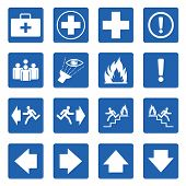 Blue Square  Safety Sign. Vector