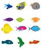 a set of twelve colored fishes on a white background