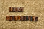 foto of thanksgiving  - Happy Thanksgiving written with wooden letters on burlap - JPG