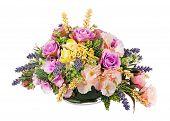 Bouquet From Artificial Flowers Arrangement Centerpiece In Vase.