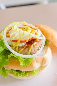 close up hamburger pork