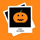 Two Instant Photos With Pumpkin. Happy Halloween Card. Flat Design.