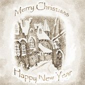 Christmas vintage Greeting Card Monochrome