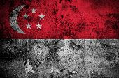 Grunge Flag Of Singapore With Capital In Singapore