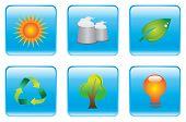 Blue Environmental Conservation Icon Set
