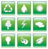Green Buttons With Environmental Conservation Symbol