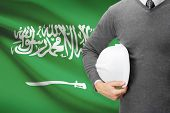 Architect With Flag On Background  - Saudi Arabia