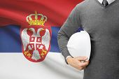 Architect With Flag On Background  - Serbia