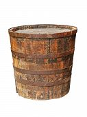 Old Grunge Wooden Barrel.isolated.